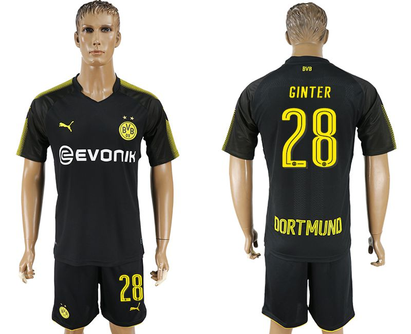 Men 2017-2018 club Dortmund away 28 black soccer jersey