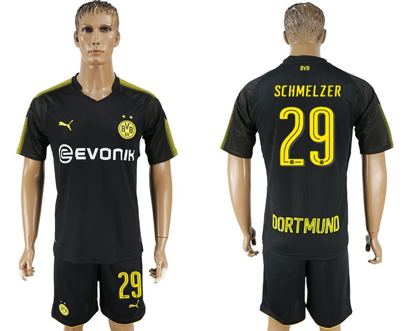 Men 2017-2018 club Dortmund away 29 black soccer jersey