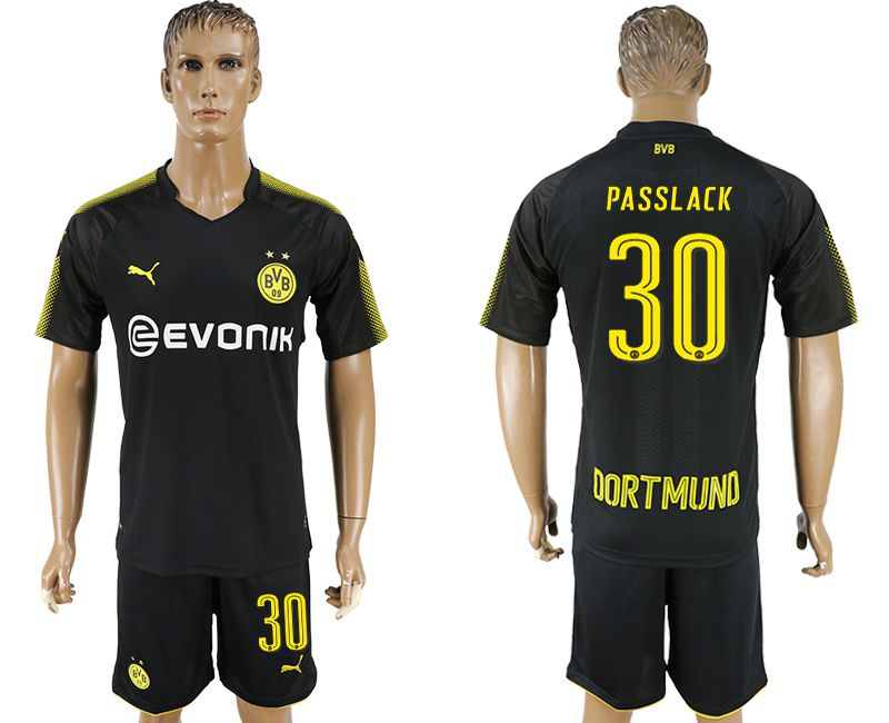 Men 2017-2018 club Dortmund away 30 black soccer jersey
