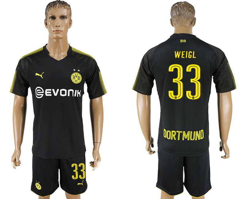 Men 2017-2018 club Dortmund away 33 black soccer jersey