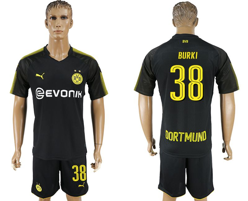 Men 2017-2018 club Dortmund away 38 black soccer jersey