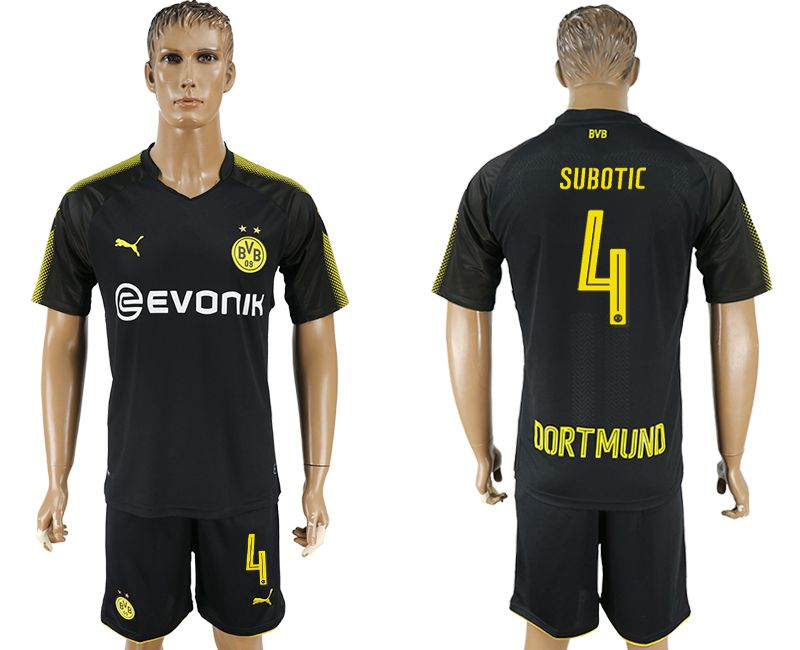 Men 2017-2018 club Dortmund away 4 black soccer jersey