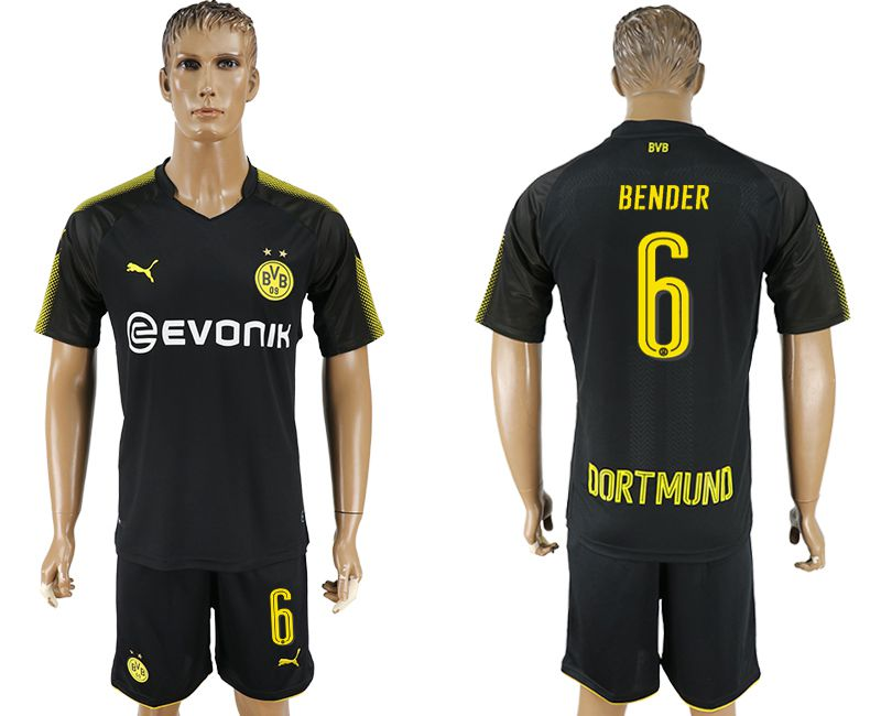 Men 2017-2018 club Dortmund away 6 black soccer jersey