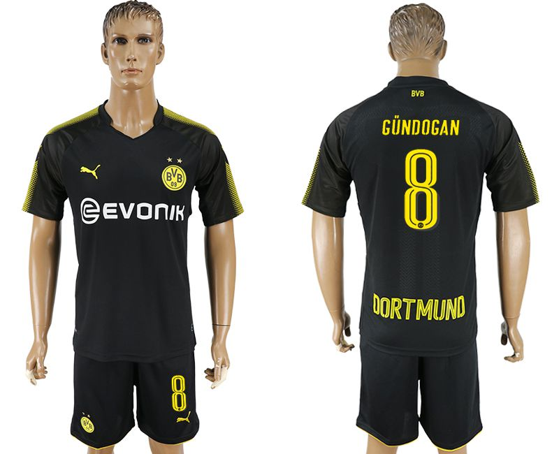 Men 2017-2018 club Dortmund away 8 black soccer jersey