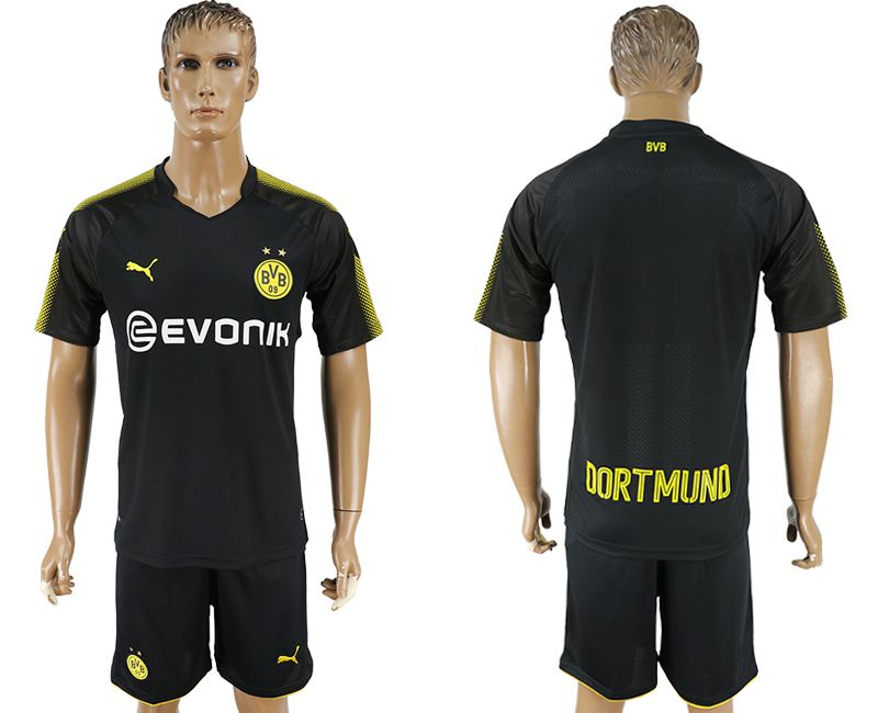 Men 2017-2018 club Dortmund away blank black soccer jersey