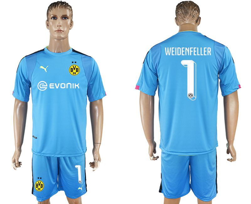 Men 2017-2018 club Dortmund goalkeeper 1 blue soccer jersey