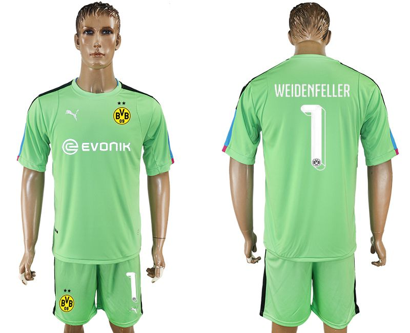 Men 2017-2018 club Dortmund goalkeeper 1 green soccer jersey