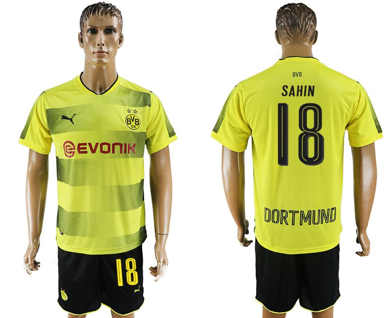 Men 2017-2018 club Dortmund home 18 yellow soccer jersey