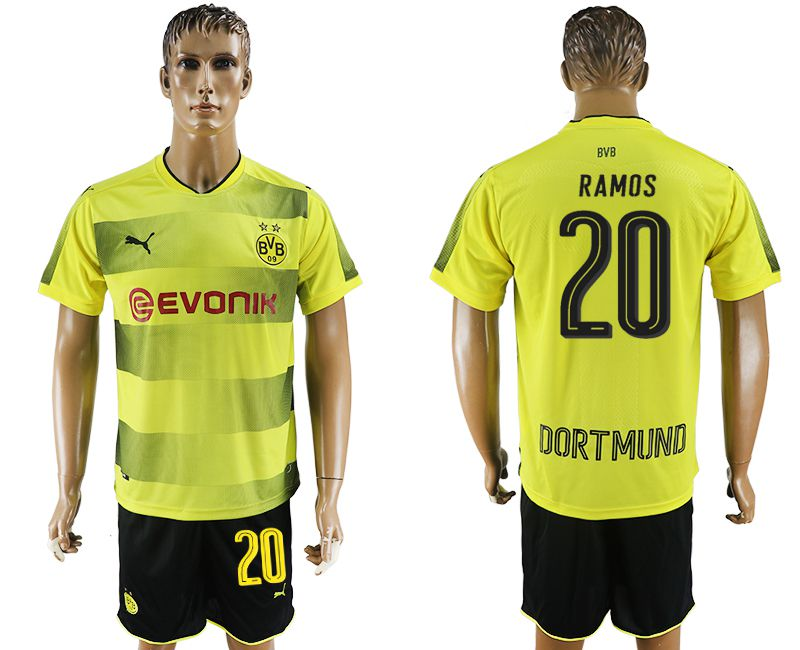 Men 2017-2018 club Dortmund home 20 yellow soccer jersey