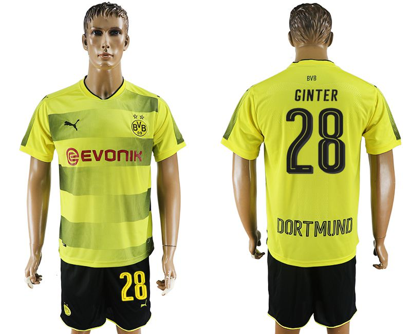 Men 2017-2018 club Dortmund home 28 yellow soccer jersey