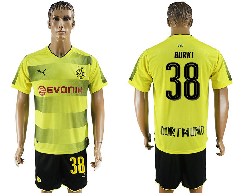 Men 2017-2018 club Dortmund home 38 yellow soccer jersey