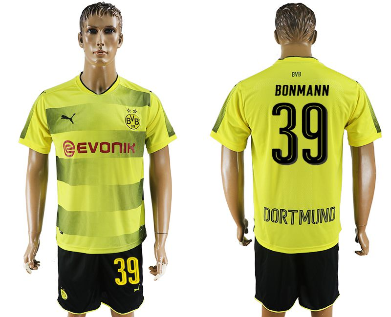 Men 2017-2018 club Dortmund home 39 yellow soccer jersey