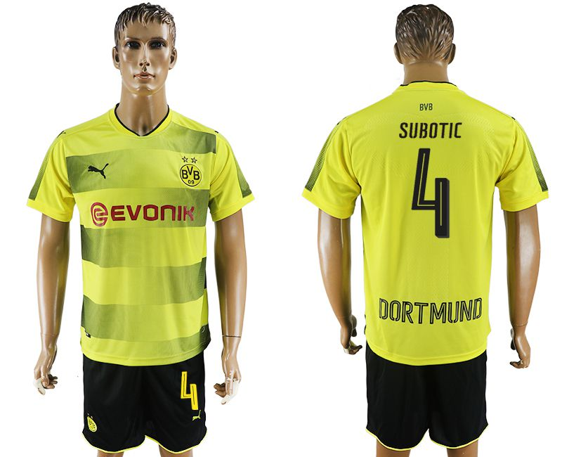 Men 2017-2018 club Dortmund home 4 yellow soccer jersey