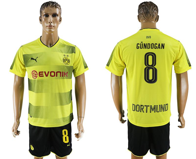 Men 2017-2018 club Dortmund home 8 yellow soccer jersey
