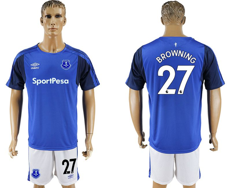 Men 2017-2018 club Everton FC home 27 blue soccer jersey