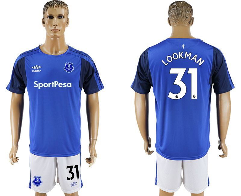 Men 2017-2018 club Everton FC home 31 blue soccer jersey