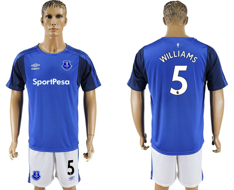 Men 2017-2018 club Everton FC home 5 blue soccer jersey