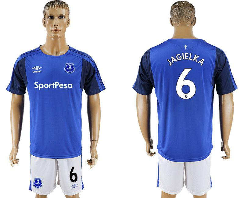 Men 2017-2018 club Everton FC home 6 blue soccer jersey