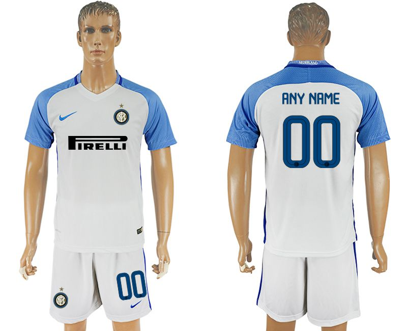 Men 2017-2018 club Inter milan away customized white soccer jersey