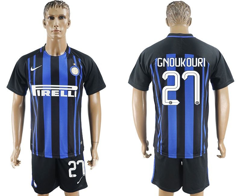Men 2017-2018 club Inter milan home 27 blue soccer jersey