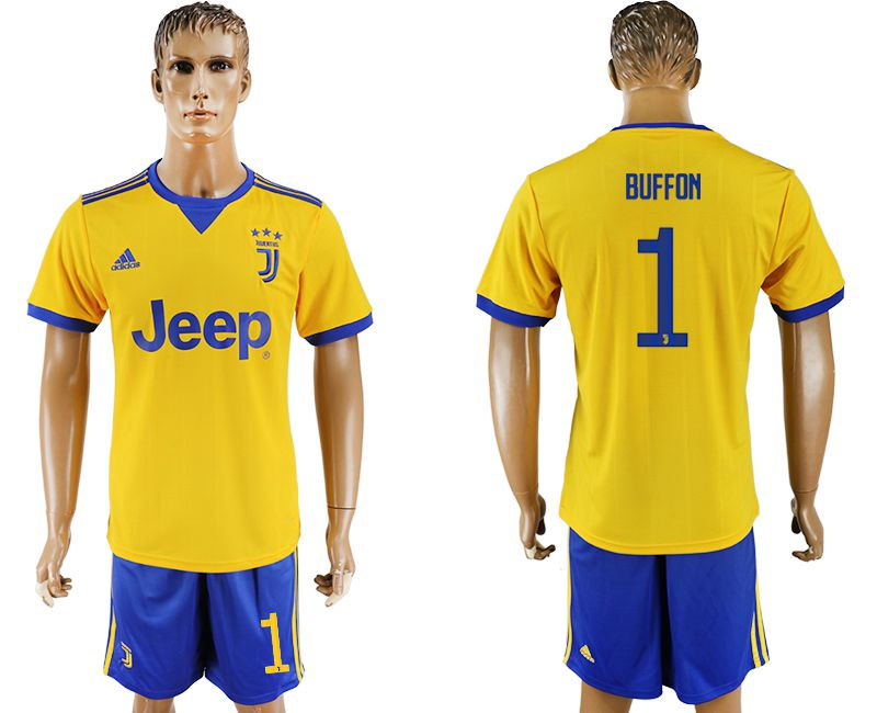 Men 2017-2018 club Juventus away 1 yellow soccer jersey