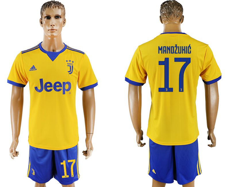 Men 2017-2018 club Juventus away 17 yellow soccer jersey
