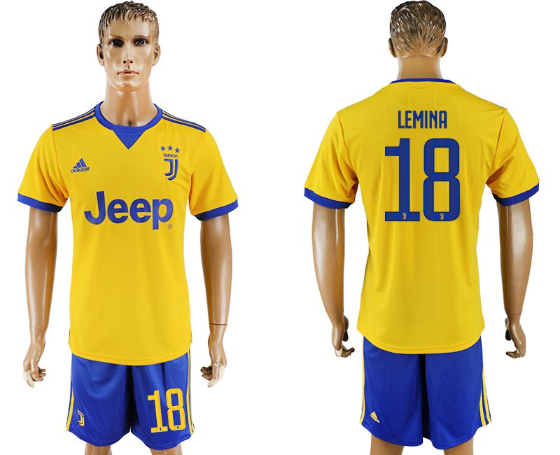 Men 2017-2018 club Juventus away 18 yellow soccer jersey