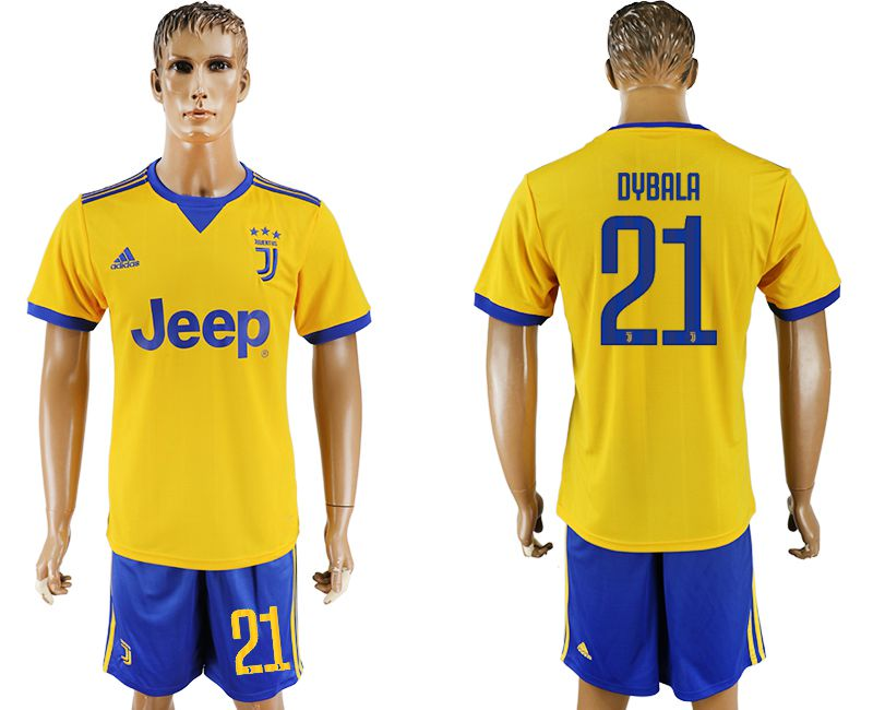 Men 2017-2018 club Juventus away 21 yellow soccer jersey
