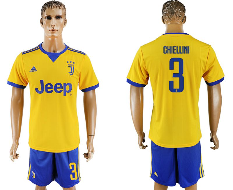 Men 2017-2018 club Juventus away 3 yellow soccer jersey