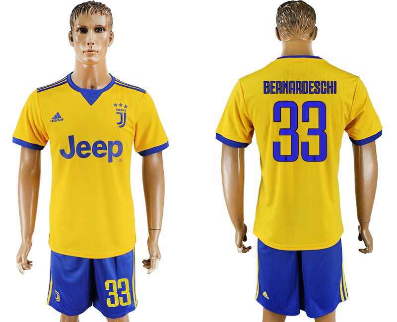 Men 2017-2018 club Juventus away 33 yellow soccer jersey
