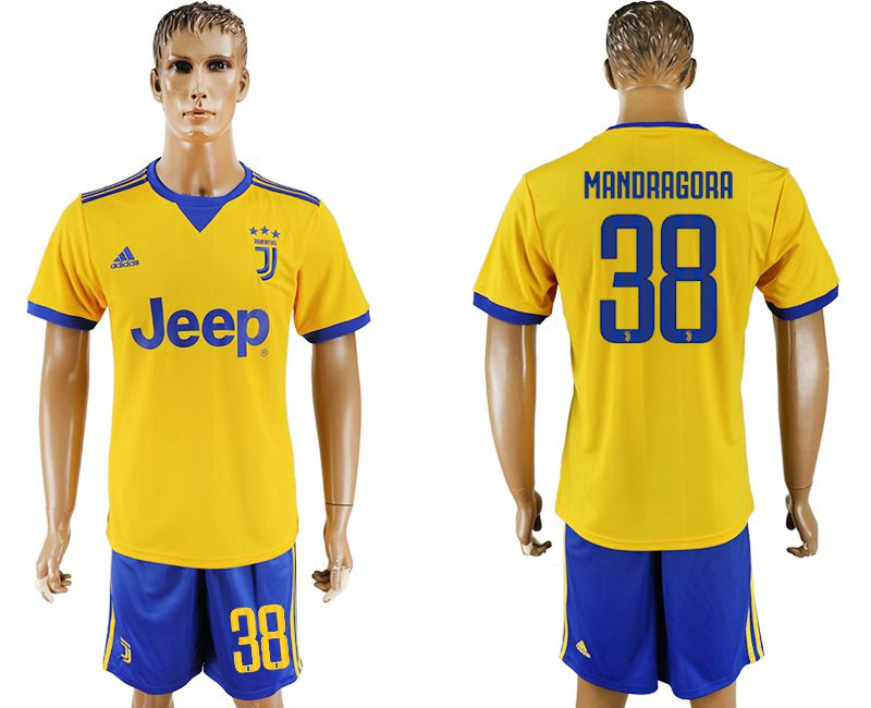 Men 2017-2018 club Juventus away 38 yellow soccer jersey