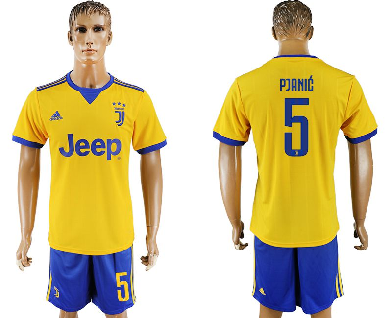Men 2017-2018 club Juventus away 5 yellow soccer jersey