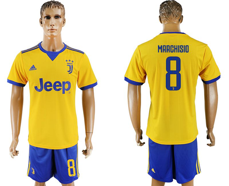 Men 2017-2018 club Juventus away 8 yellow soccer jersey