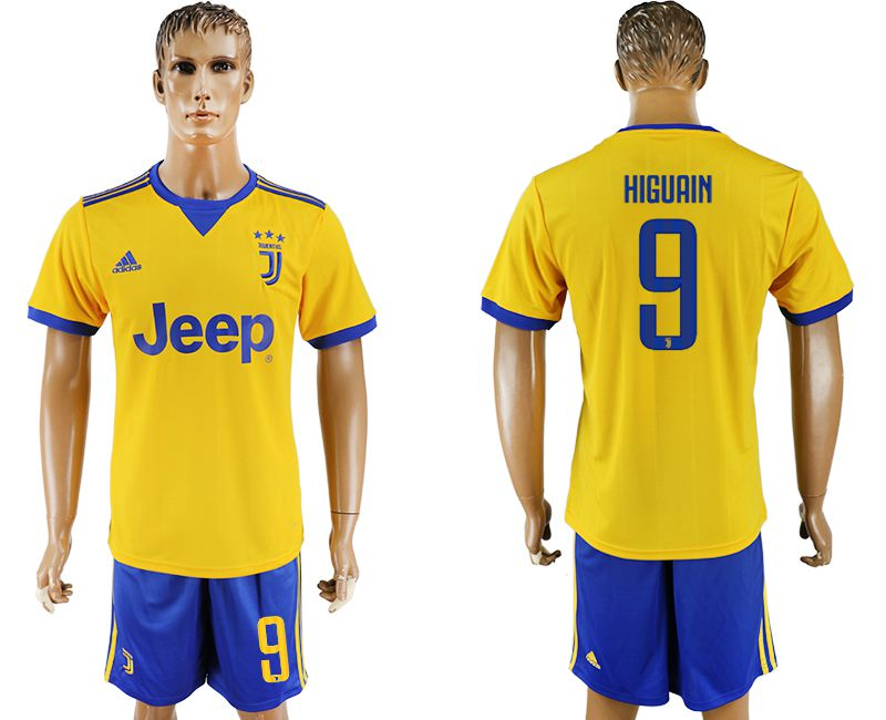 Men 2017-2018 club Juventus away 9 yellow soccer jersey