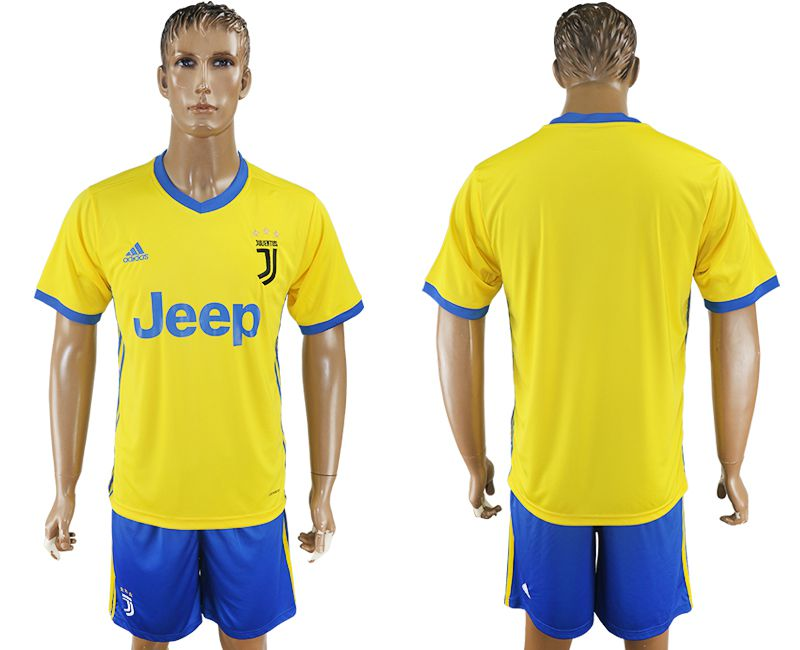 Men 2017-2018 club Juventus away blank yellow soccer jersey