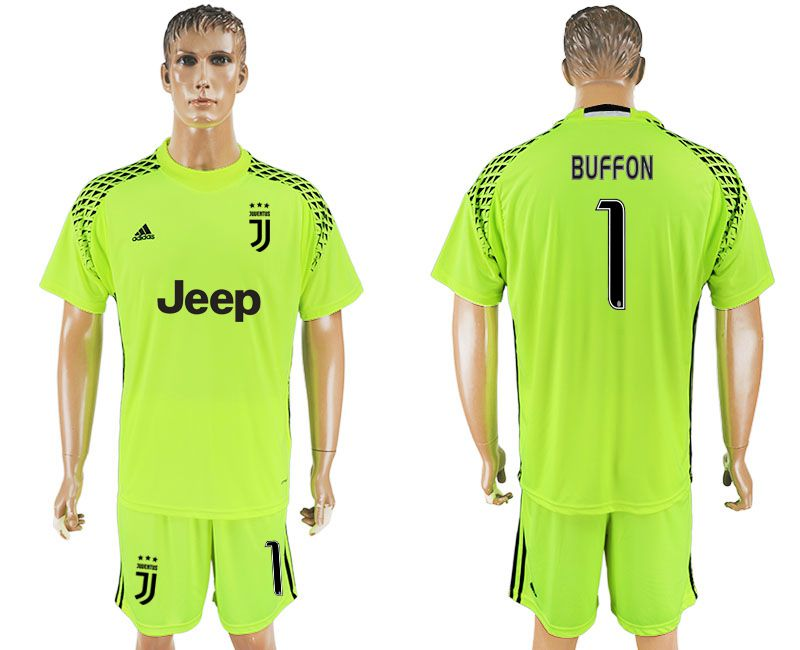 Men 2017-2018 club Juventus goalkeeper 1 fluorescent green soccer jersey