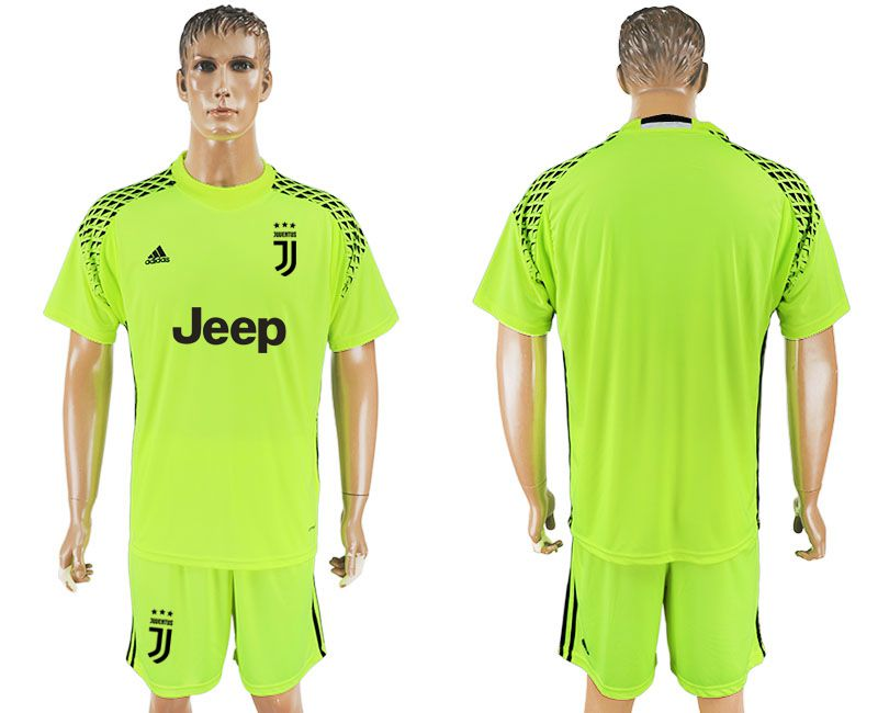 Men 2017-2018 club Juventus goalkeeper blank fluorescent green soccer jersey