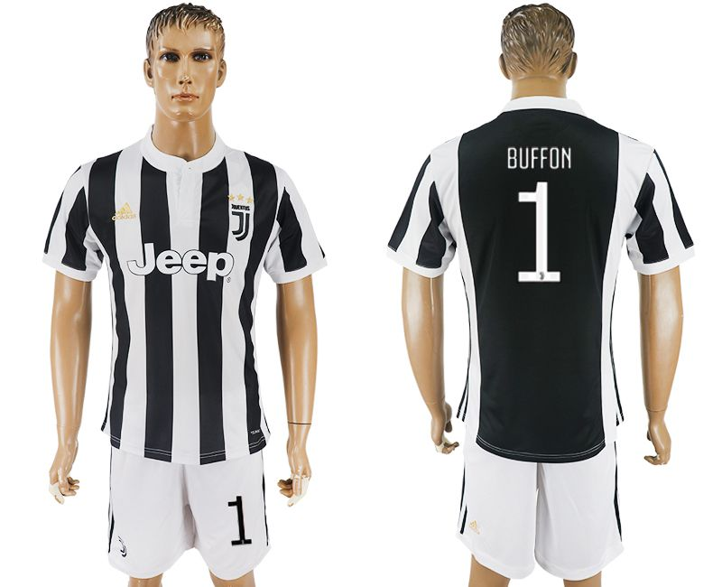 Men 2017-2018 club Juventus home 1 black white soccer jersey