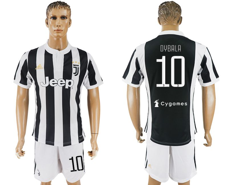Men 2017-2018 club Juventus home 10 black white soccer jersey