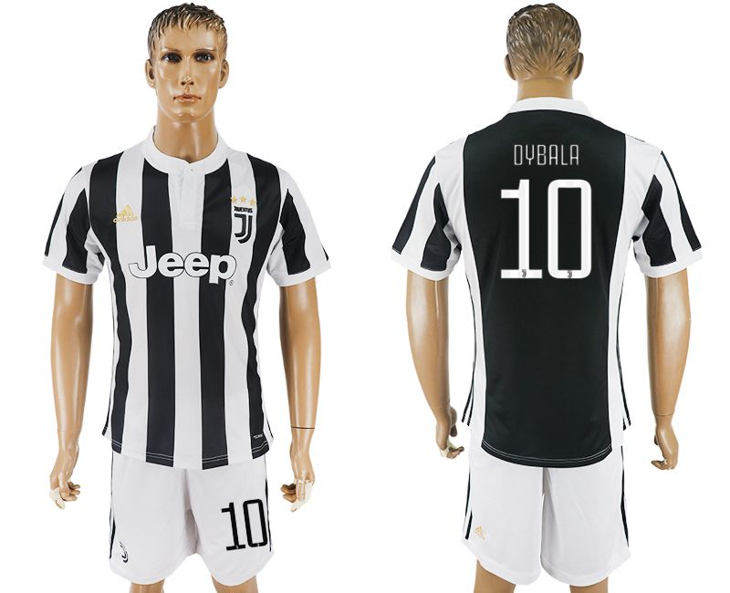 Men 2017-2018 club Juventus home 10 black white soccer jersey1