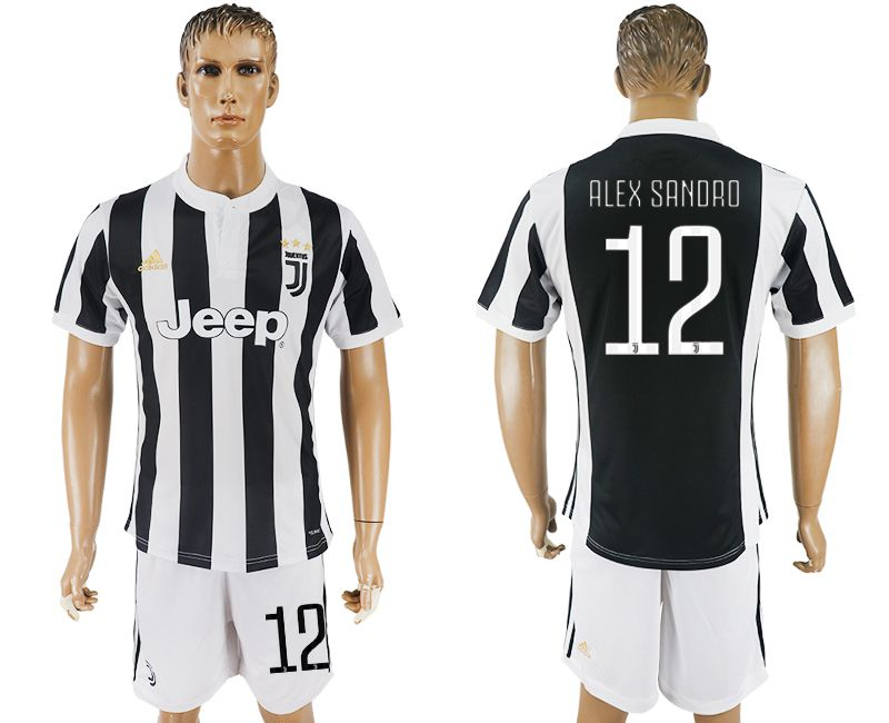 Men 2017-2018 club Juventus home 12 black white soccer jersey