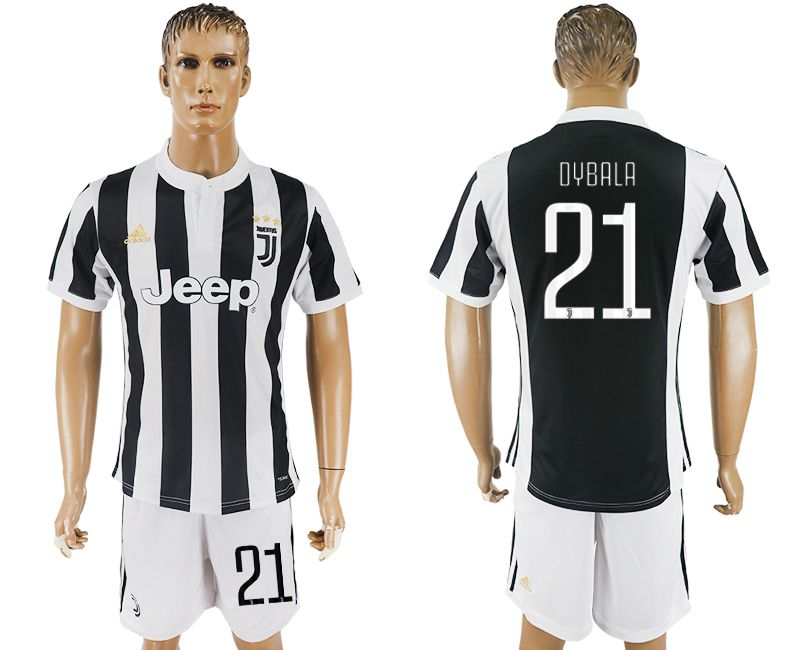 Men 2017-2018 club Juventus home 21 black white soccer jersey
