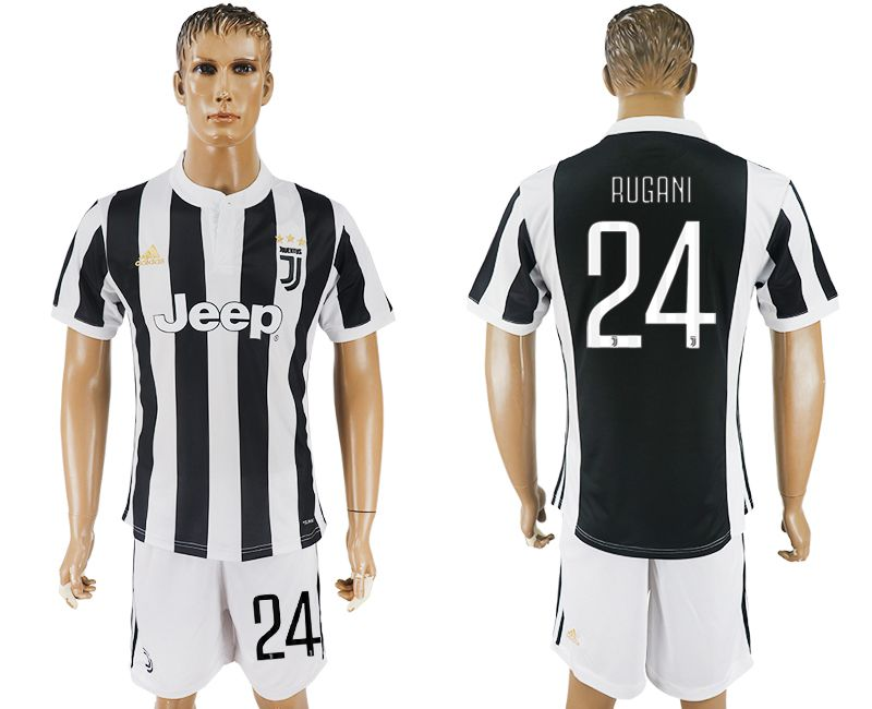 Men 2017-2018 club Juventus home 24 black white soccer jersey