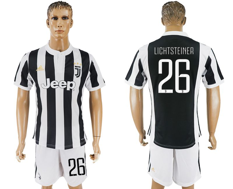 Men 2017-2018 club Juventus home 26 black white soccer jersey