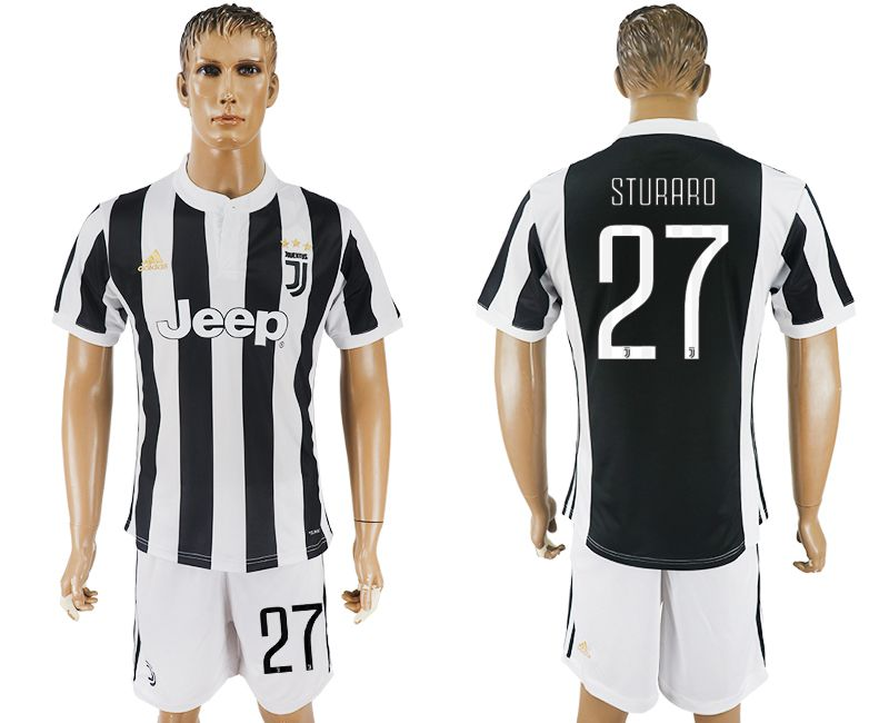 Men 2017-2018 club Juventus home 27 black white soccer jersey