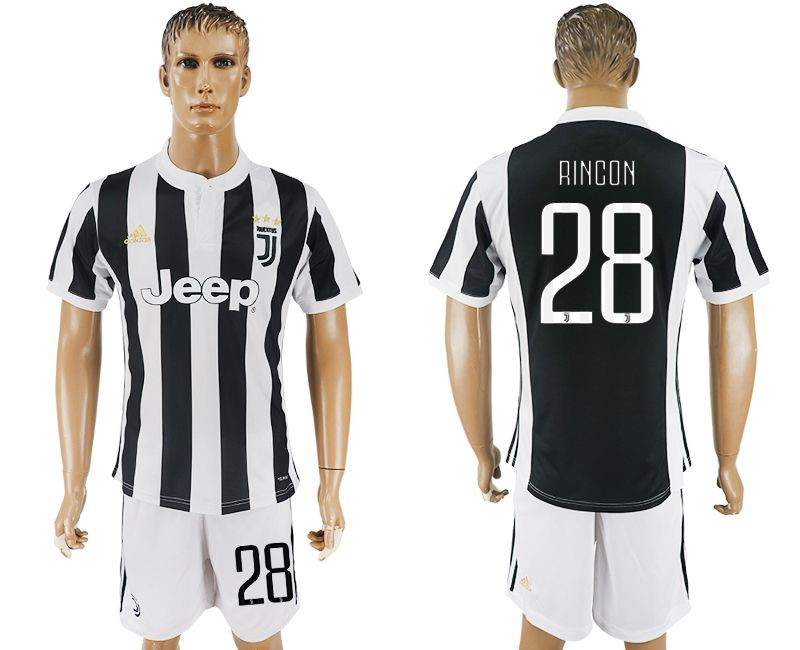 Men 2017-2018 club Juventus home 28 black white soccer jersey