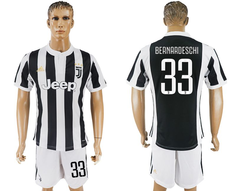 Men 2017-2018 club Juventus home 33 black white soccer jersey