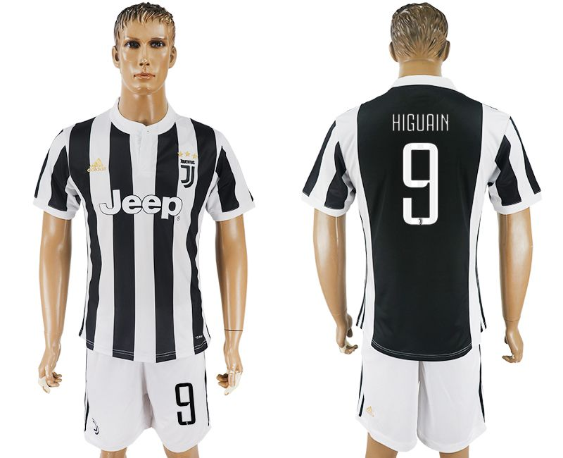 Men 2017-2018 club Juventus home 9 black white soccer jersey