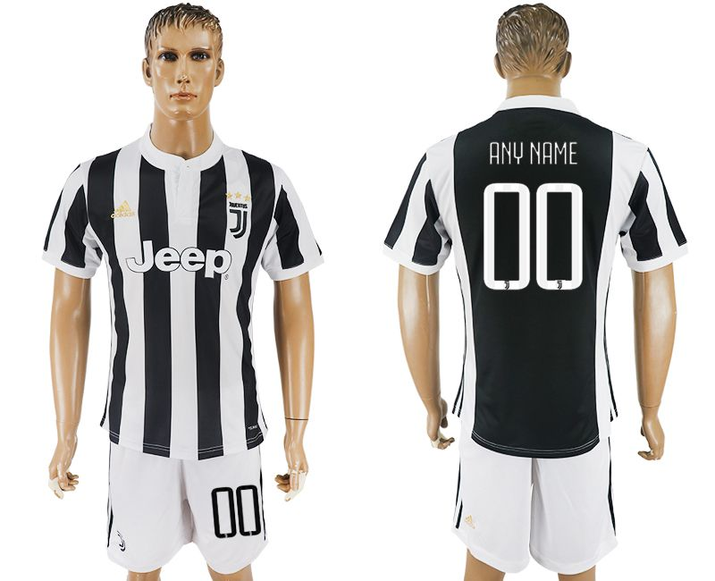 Men 2017-2018 club Juventus home customized black white soccer jersey