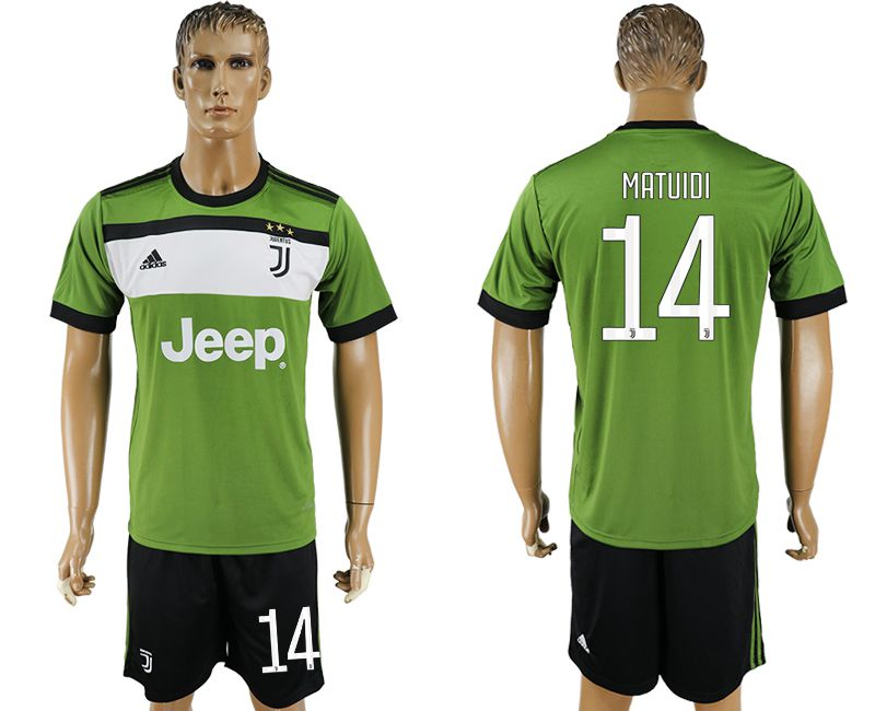 Men 2017-2018 club Juventus second away 14 green soccer jersey